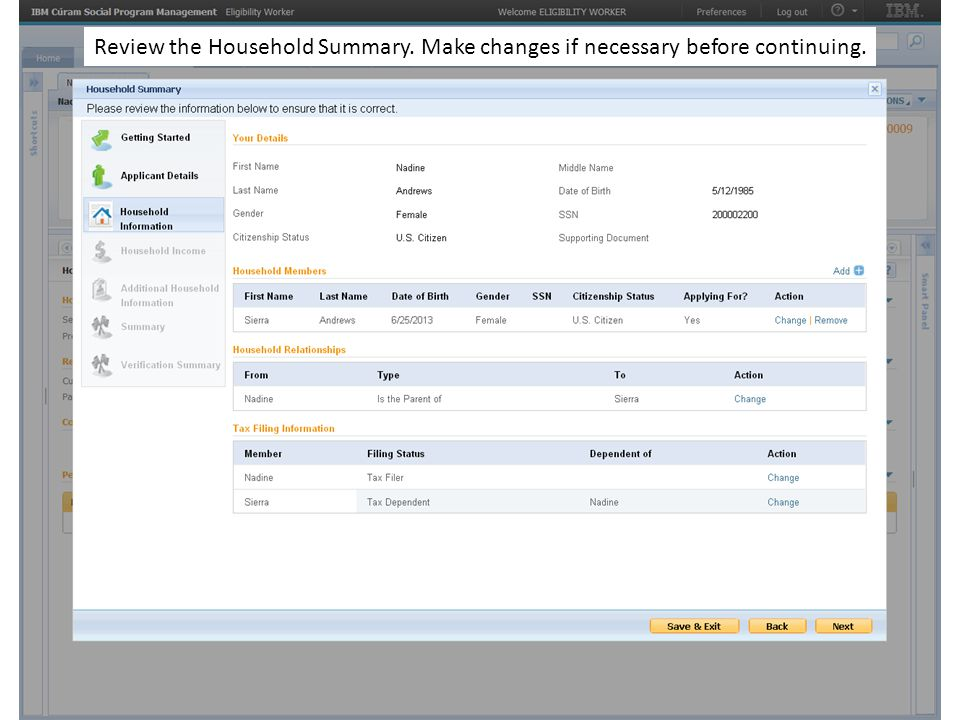 Review the Household Summary. Make changes if necessary before continuing.