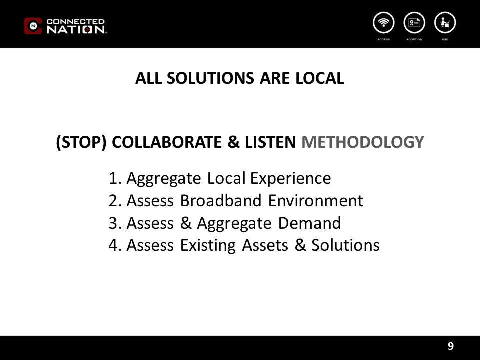 9 ALL SOLUTIONS ARE LOCAL (STOP) COLLABORATE & LISTEN METHODOLOGY 1.Aggregate Local Experience 2.Assess Broadband Environment 3.Assess & Aggregate Demand 4.Assess Existing Assets & Solutions