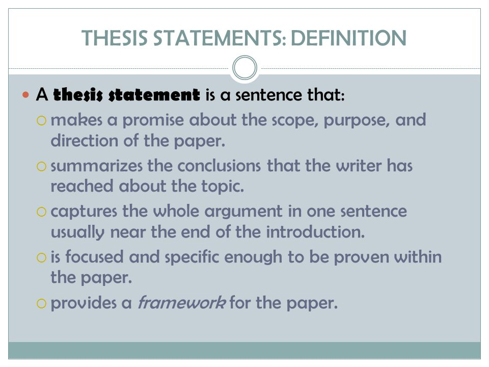 What does a thesis do.For the writer, the working thesis statement:  serves as a planning tool.