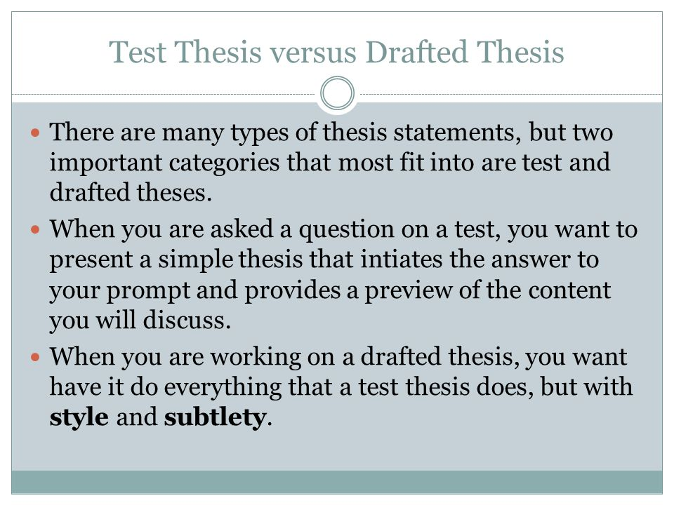 When reviewing your first draft and its working thesis, ask yourself the following: Do I answer the question.
