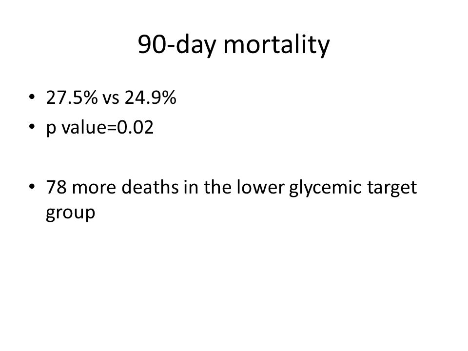90-day mortality 27.5% vs 24.9% p value=0.02 78 more deaths in the lower glycemic target group