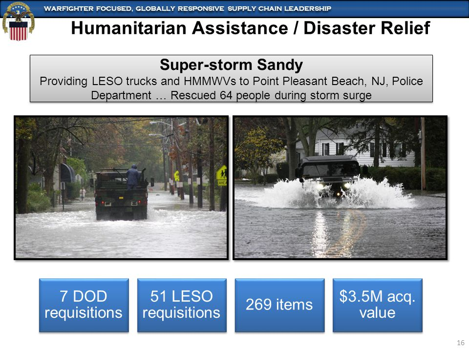 WARFIGHTER FOCUSED, GLOBALLY RESPONSIVE SUPPLY CHAIN LEADERSHIP 16 Humanitarian Assistance / Disaster Relief Super-storm Sandy Providing LESO trucks and HMMWVs to Point Pleasant Beach, NJ, Police Department … Rescued 64 people during storm surge Super-storm Sandy Providing LESO trucks and HMMWVs to Point Pleasant Beach, NJ, Police Department … Rescued 64 people during storm surge 7 DOD requisitions 51 LESO requisitions 269 items $3.5M acq.