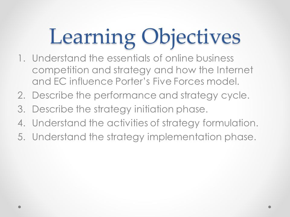 Learning Objectives 1.Understand the essentials of online business competition and strategy and how the Internet and EC influence Porter's Five Forces model.