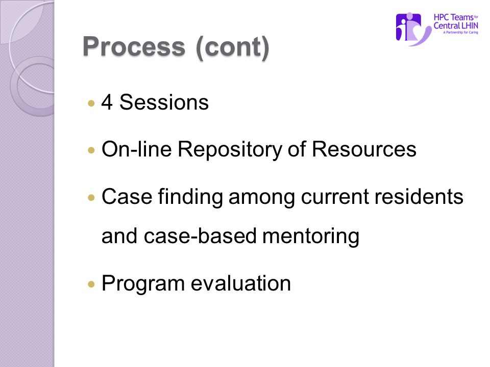 Process (cont) 4 Sessions On-line Repository of Resources Case finding among current residents and case-based mentoring Program evaluation