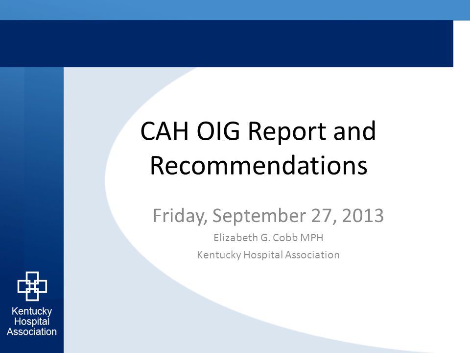 CAH OIG Report and Recommendations Friday, September 27, 2013 Elizabeth G.