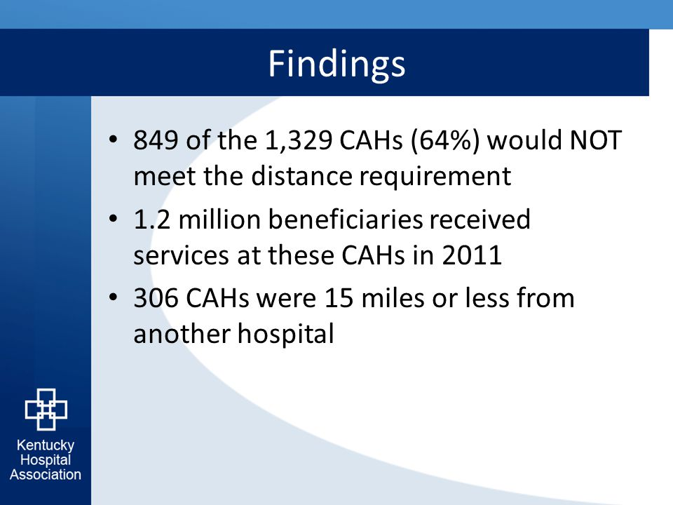 Findings 849 of the 1,329 CAHs (64%) would NOT meet the distance requirement 1.2 million beneficiaries received services at these CAHs in 2011 306 CAH