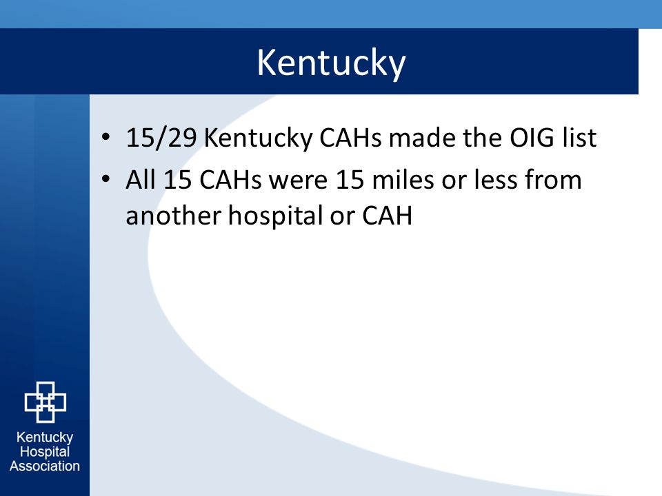 Kentucky 15/29 Kentucky CAHs made the OIG list All 15 CAHs were 15 miles or less from another hospital or CAH