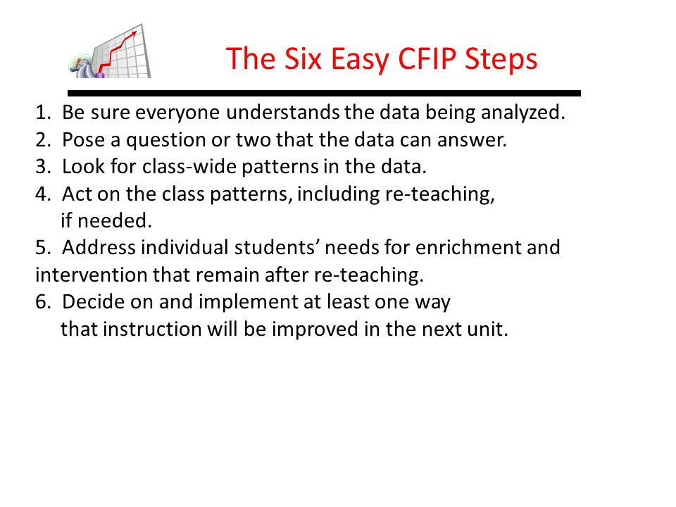 13 The Six Easy CFIP Steps 1. Be sure everyone understands the data being analyzed. 2. Pose a question or two that the data can answer. 3. Look for cl