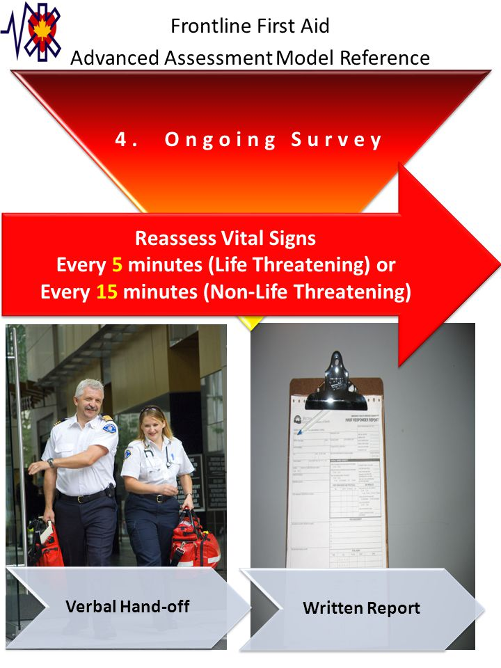 4. Ongoing Survey Reassess Vital Signs Every 5 minutes (Life Threatening) or Every 15 minutes (Non-Life Threatening) Reassess Vital Signs Every 5 minu