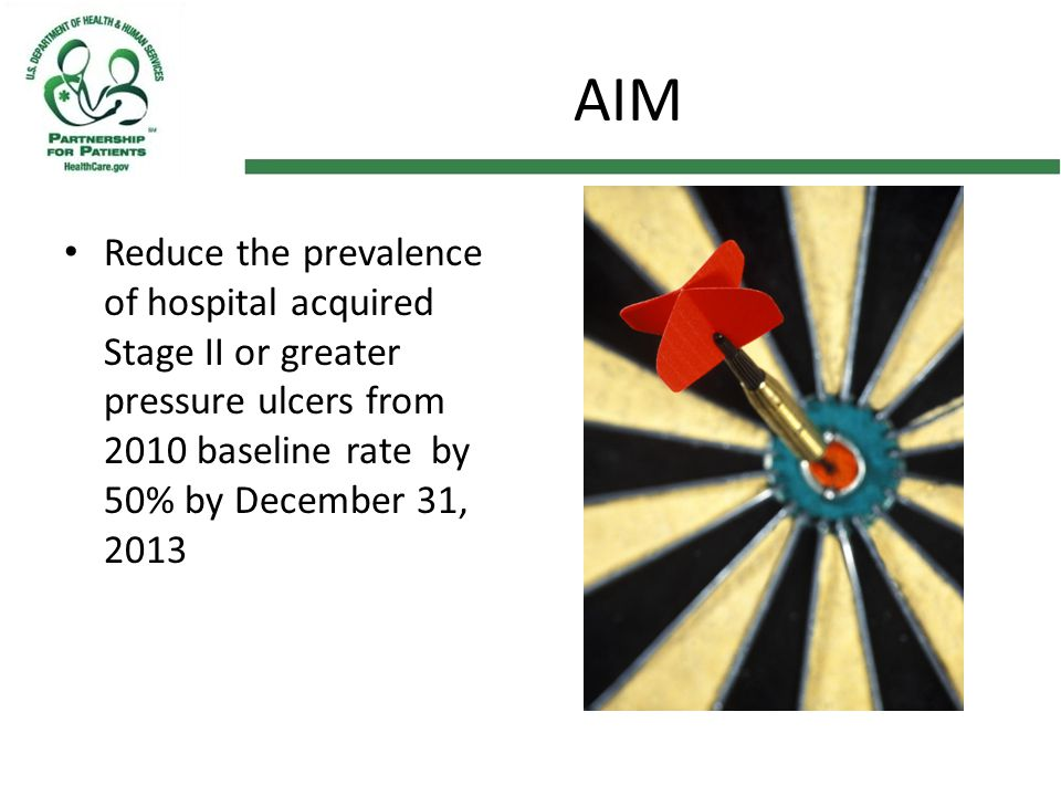AIM Reduce the prevalence of hospital acquired Stage II or greater pressure ulcers from 2010 baseline rate by 50% by December 31, 2013