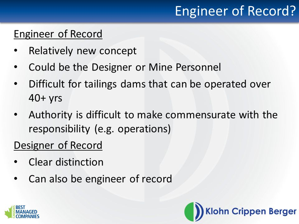 Engineer of Record.