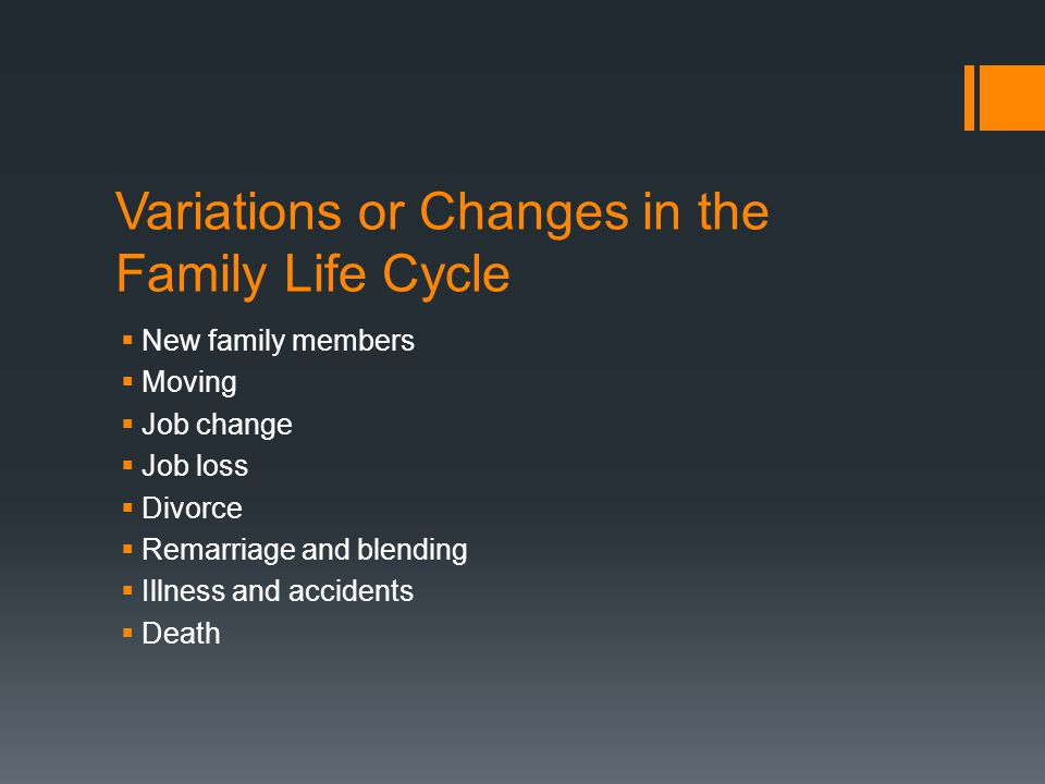 Variations or Changes in the Family Life Cycle  New family members  Moving  Job change  Job loss  Divorce  Remarriage and blending  Illness and accidents  Death