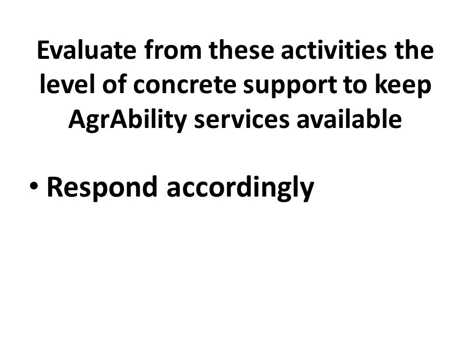 Evaluate from these activities the level of concrete support to keep AgrAbility services available Respond accordingly