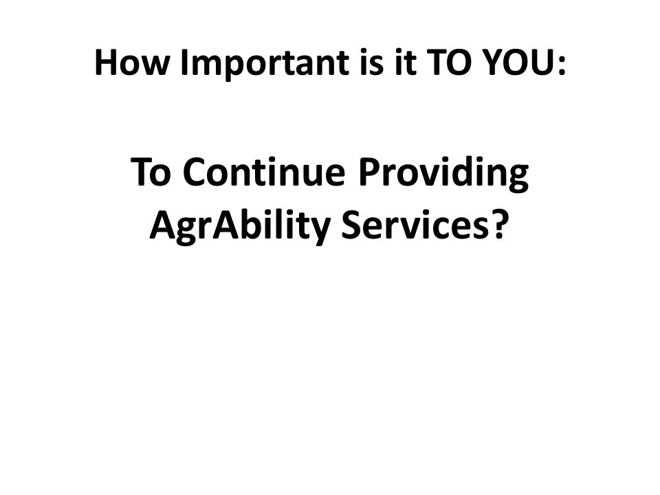 How Important is it TO YOU: To Continue Providing AgrAbility Services