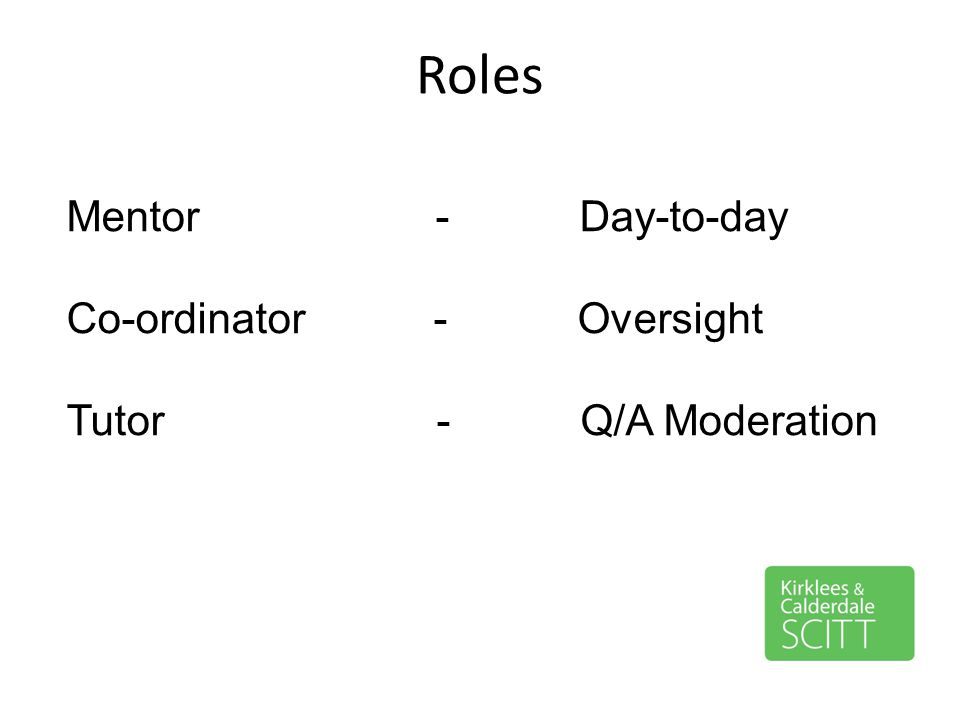 Roles Mentor - Day-to-day Co-ordinator - Oversight Tutor - Q/A Moderation