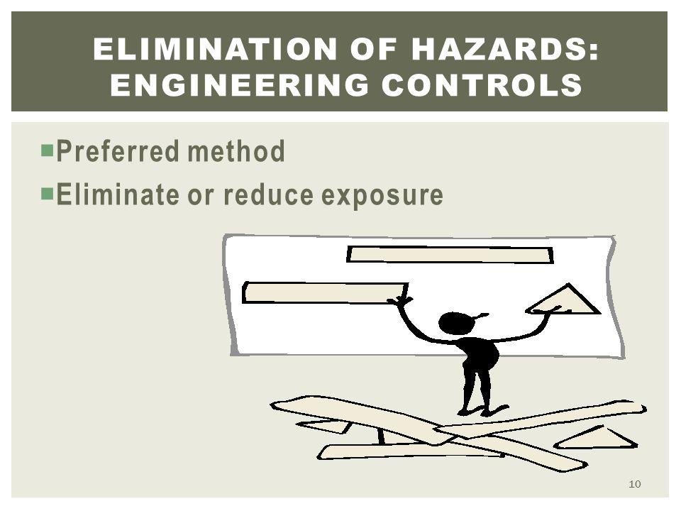  Preferred method  Eliminate or reduce exposure ELIMINATION OF HAZARDS: ENGINEERING CONTROLS 10