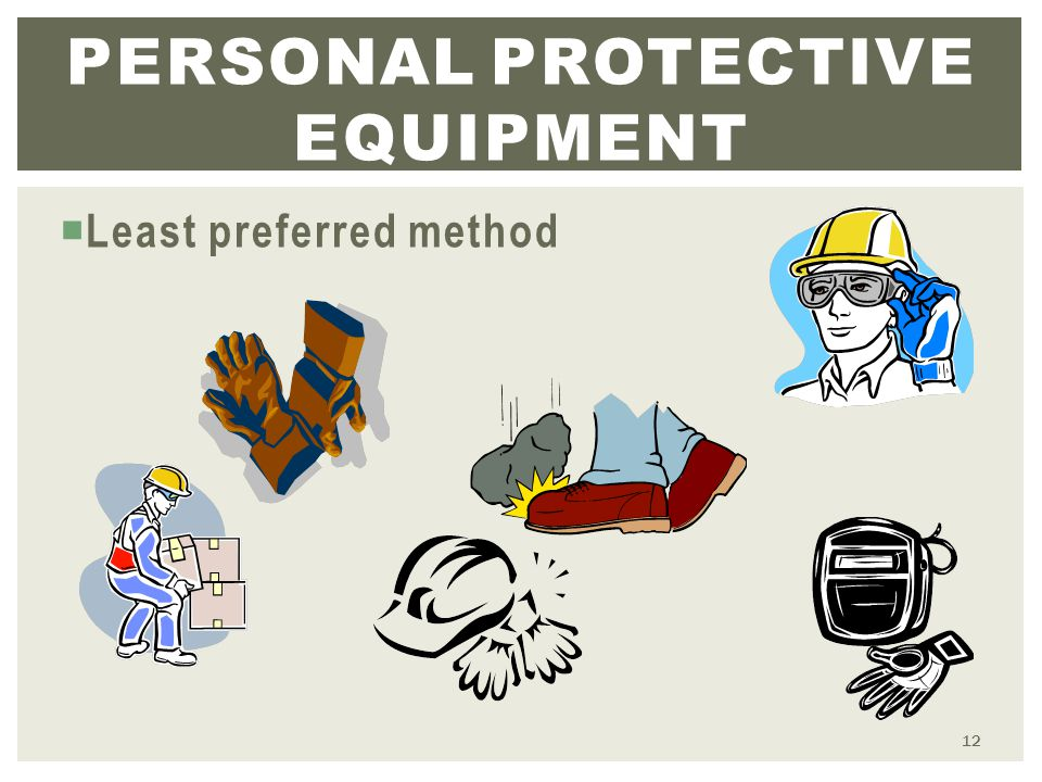  Least preferred method PERSONAL PROTECTIVE EQUIPMENT 12