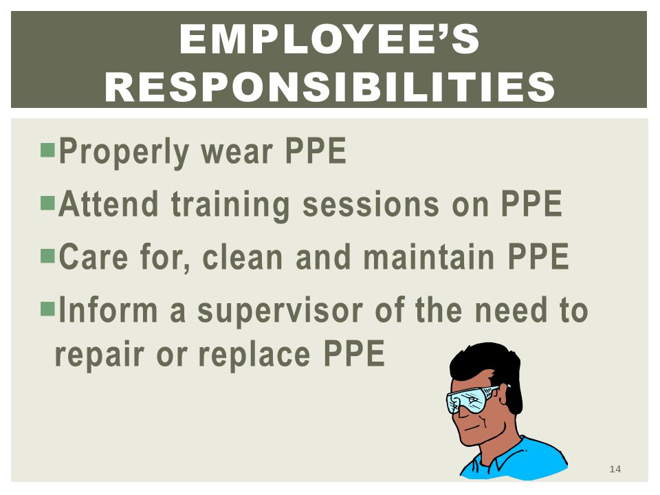  Properly wear PPE  Attend training sessions on PPE  Care for, clean and maintain PPE  Inform a supervisor of the need to repair or replace PPE EMPLOYEE'S RESPONSIBILITIES 14