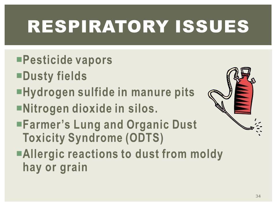 Pesticide vapors  Dusty fields  Hydrogen sulfide in manure pits  Nitrogen dioxide in silos.
