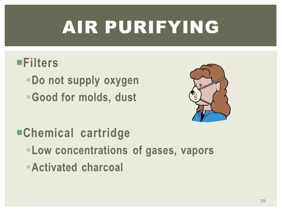  Filters  Do not supply oxygen  Good for molds, dust  Chemical cartridge  Low concentrations of gases, vapors  Activated charcoal AIR PURIFYING 39