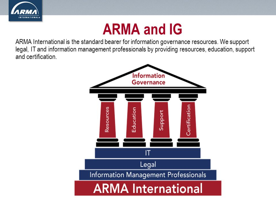 ARMA and IG ARMA International is the standard bearer for information governance resources.