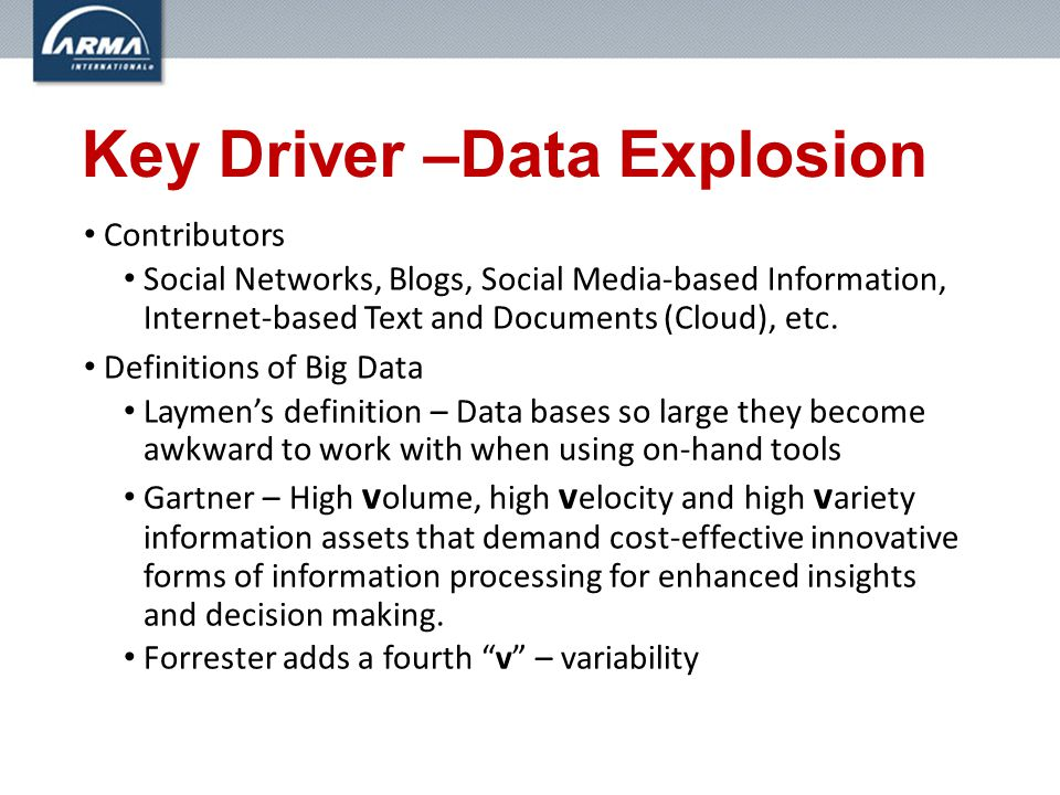 Key Driver –Data Explosion Contributors Social Networks, Blogs, Social Media-based Information, Internet-based Text and Documents (Cloud), etc.