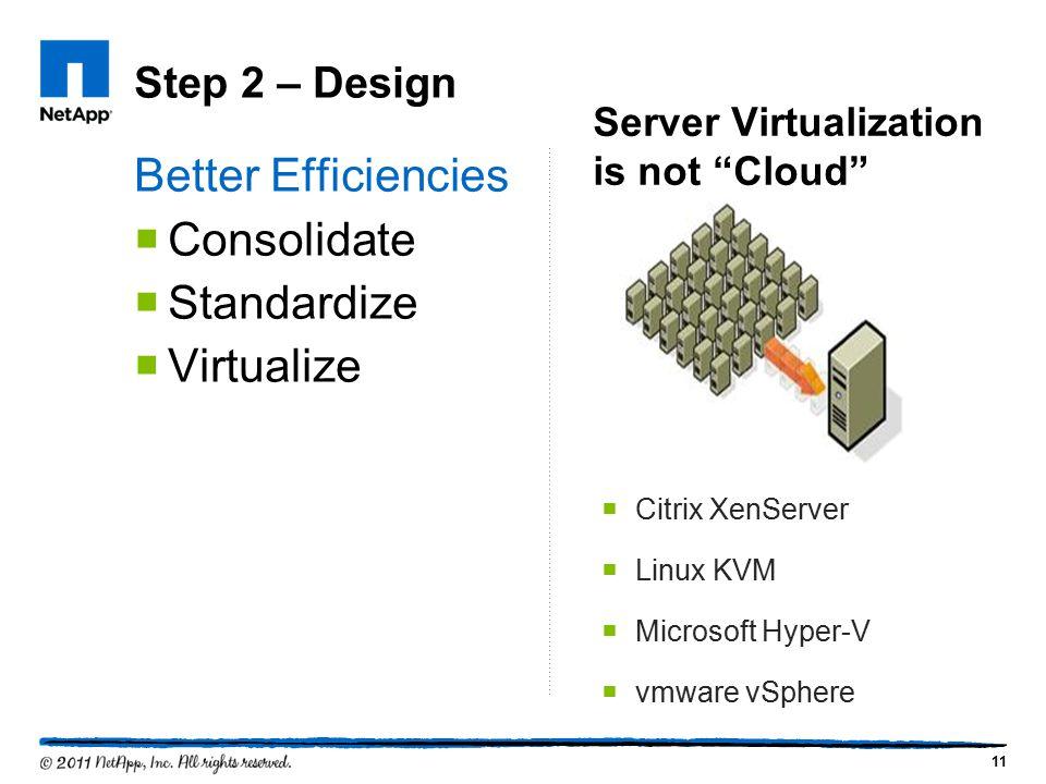 Step 2 – Design Better Efficiencies  Consolidate  Standardize  Virtualize 11  Citrix XenServer  Linux KVM  Microsoft Hyper-V  vmware vSphere Se
