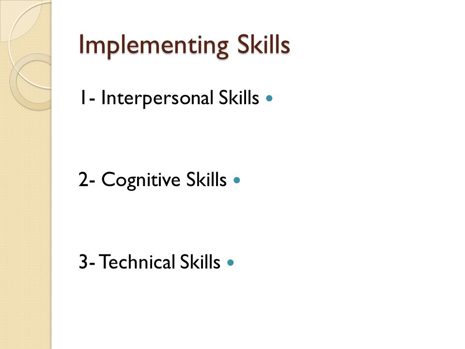 Implementing Skills 1- Interpersonal Skills 2- Cognitive Skills 3- Technical Skills