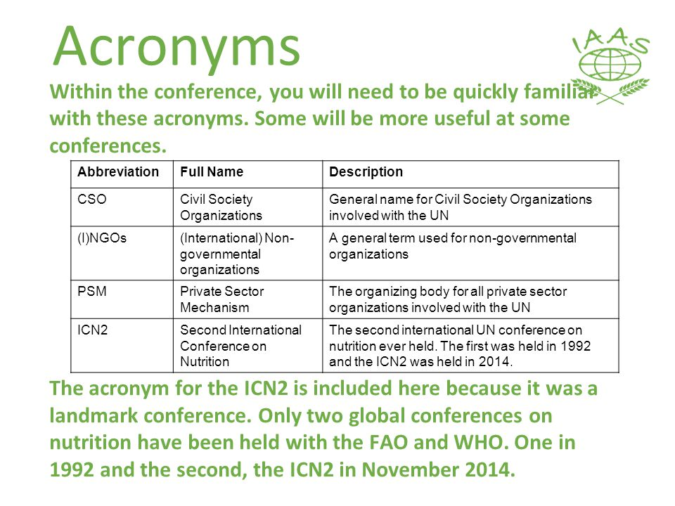 Acronyms Within the conference, you will need to be quickly familiar with these acronyms.