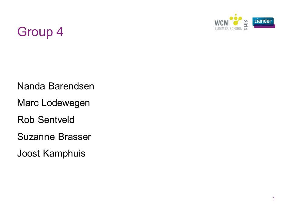 Group 4 1 Nanda Barendsen Marc Lodewegen Rob Sentveld Suzanne Brasser Joost Kamphuis