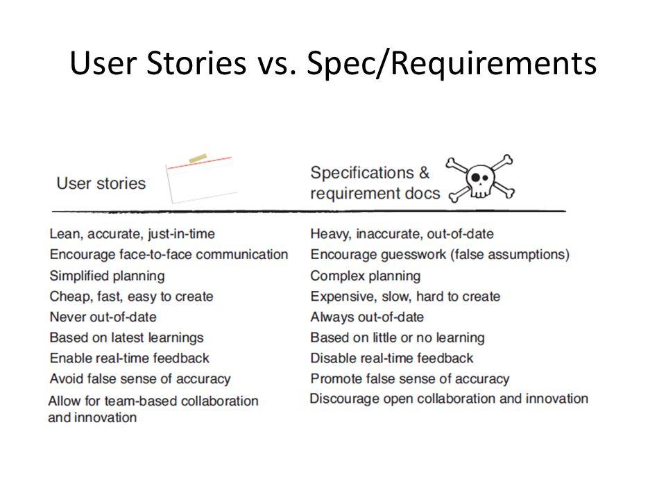 User Stories vs. Spec/Requirements