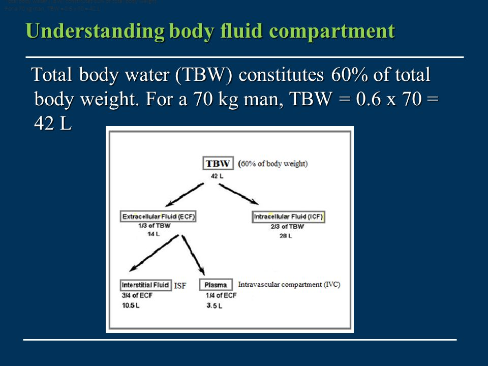 Understanding body fluid compartment Total body water (TBW) constitutes 60% of total body weight.