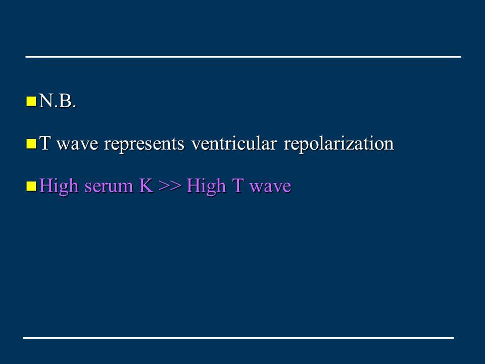 N.B. N.B. T wave represents ventricular repolarization T wave represents ventricular repolarization High serum K >> High T wave High serum K >> High T