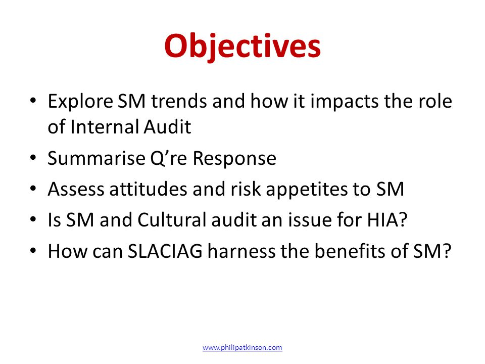 Objectives Explore SM trends and how it impacts the role of Internal Audit Summarise Q're Response Assess attitudes and risk appetites to SM Is SM and