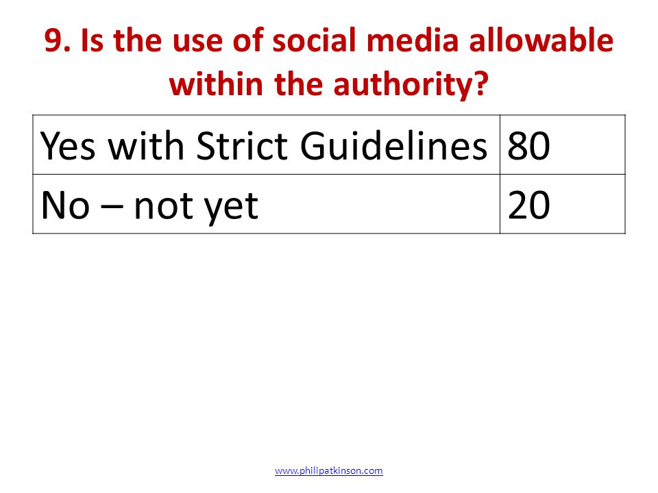 9.Is the use of social media allowable within the authority.