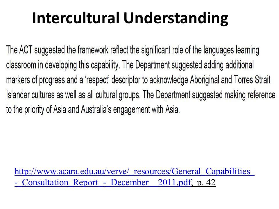 Intercultural Understanding http://www.acara.edu.au/verve/_resources/General_Capabilities_ -_Consultation_Report_-_December__2011.pdfhttp://www.acara.edu.au/verve/_resources/General_Capabilities_ -_Consultation_Report_-_December__2011.pdf, p.
