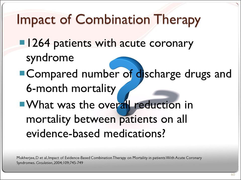 Impact of Combination Therapy  1264 patients with acute coronary syndrome  Compared number of discharge drugs and 6-month mortality  What was the overall reduction in mortality between patients on all evidence-based medications.