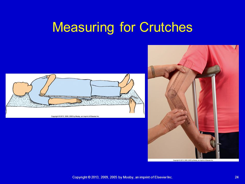 24Copyright © 2013, 2009, 2005 by Mosby, an imprint of Elsevier Inc. Measuring for Crutches