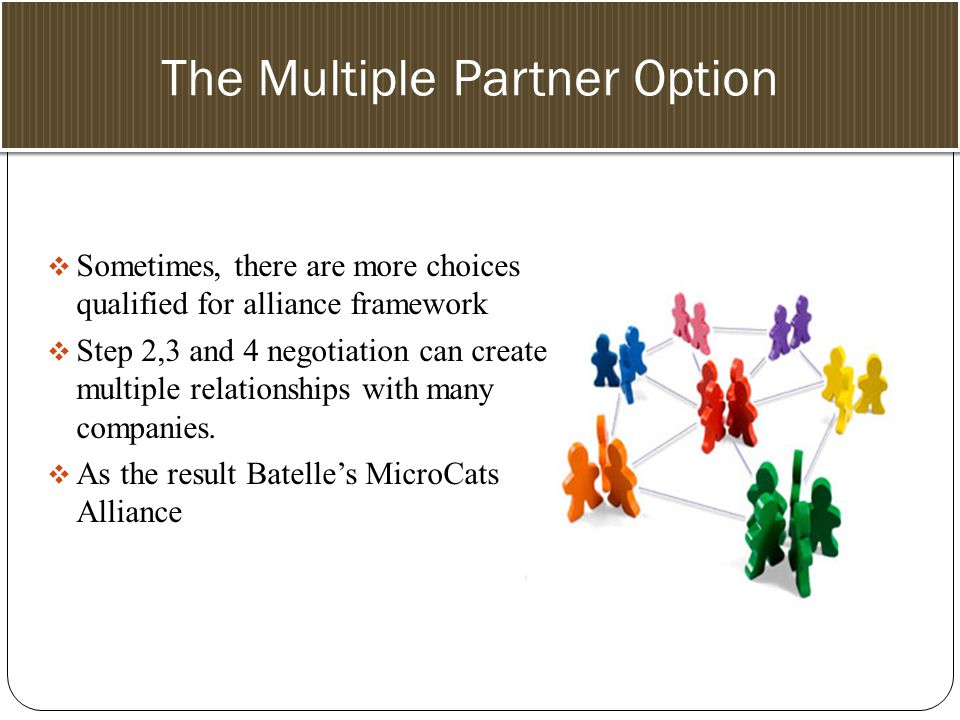 Selecting the Partner The Multiple Partner Option  Sometimes, there are more choices qualified for alliance framework  Step 2,3 and 4 negotiation can create multiple relationships with many companies.