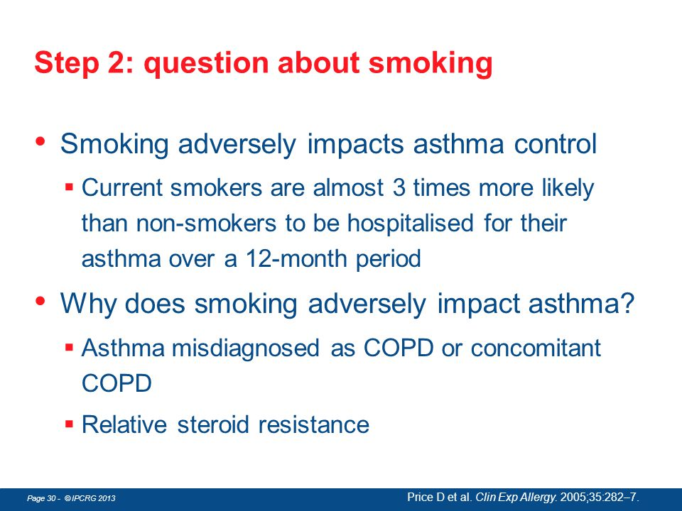 Page 30 - © IPCRG 2013 Step 2: question about smoking Smoking adversely impacts asthma control  Current smokers are almost 3 times more likely than n