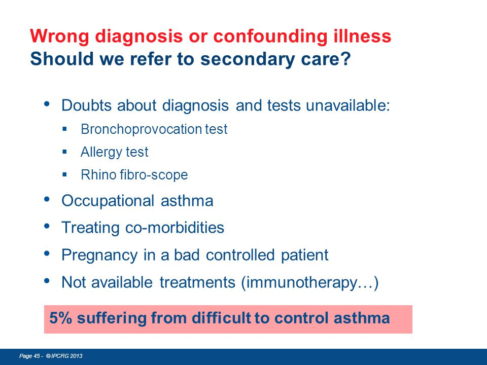 Page 45 - © IPCRG 2013 Doubts about diagnosis and tests unavailable:  Bronchoprovocation test  Allergy test  Rhino fibro-scope Occupational asthma