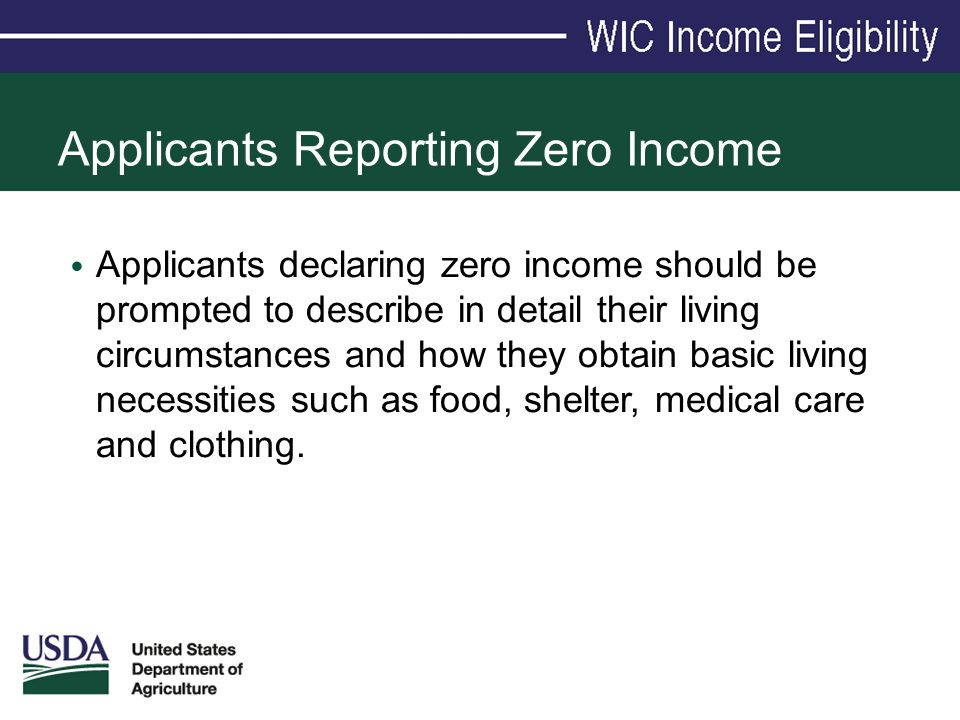Applicants Reporting Zero Income Applicants declaring zero income should be prompted to describe in detail their living circumstances and how they obt