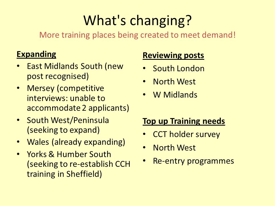 What's changing? More training places being created to meet demand! Expanding East Midlands South (new post recognised) Mersey (competitive interviews