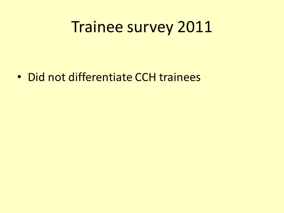 Trainee survey 2011 Did not differentiate CCH trainees