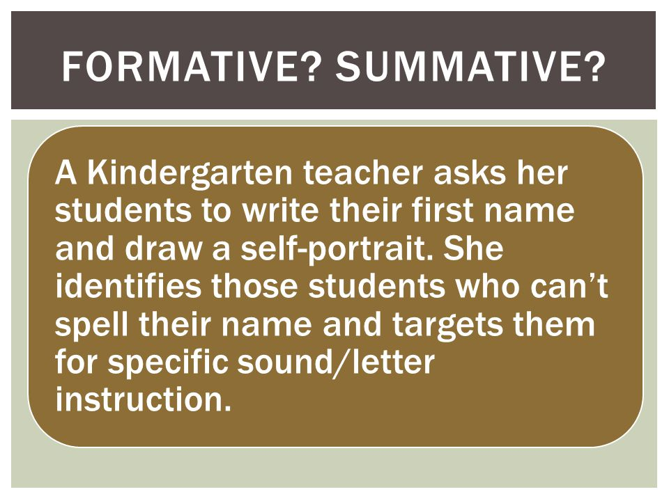 A Kindergarten teacher asks her students to write their first name and draw a self-portrait.