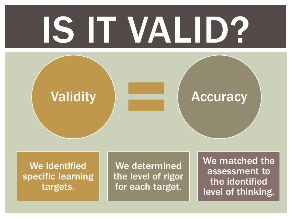 IS IT VALID. ValidityAccuracy We identified specific learning targets.