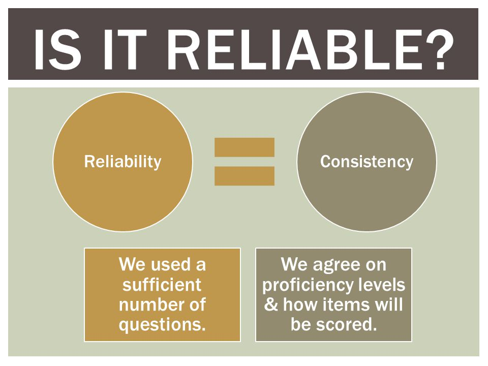 IS IT RELIABLE. ReliabilityConsistency We used a sufficient number of questions.