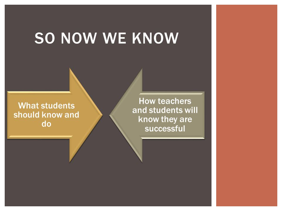 SO NOW WE KNOW What students should know and do How teachers and students will know they are successful
