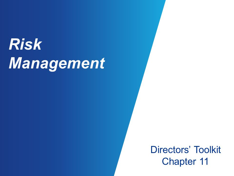 Risk Management Directors' Toolkit Chapter 11