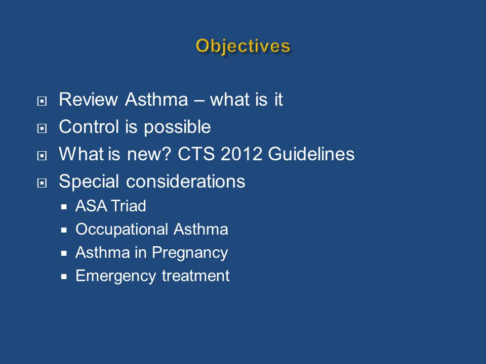 Characteristic Controlled (All of the following) Partly controlled (Any present in any week) Uncontrolled Daytime symptoms Twice or less per week More than twice per week 3 or more features of partly controlled asthma present in any week Limitations of activities NoneAny Nocturnal symptoms / awakening NoneAny Need for rescue / reliever treatment Twice or less per week More than twice per week Lung function (PEF or FEV 1 ) Normal < 80% predicted or personal best (if known) on any day Assessment of Future Risk (risk of exacerbations, instability, rapid decline in lung function, side effects)